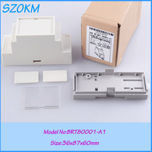 3 pcs/lot free shipping din rail enclosure abs box electronics plastic box controller 87*60*36mm