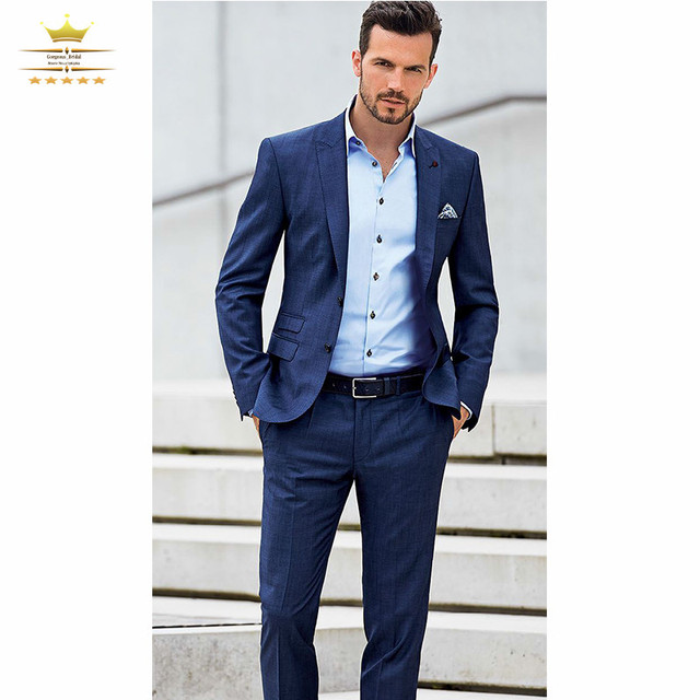 Navy Blue Custom Homme Wedding Suits For Men With Pants Grooms ...