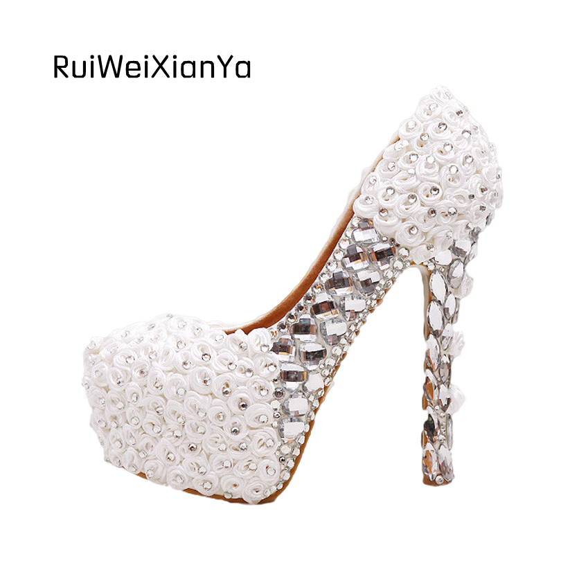2017 New Fashion Spring Sweet Crystal Platform Bridal White Wedding Shoes for Women Pumps Single High Heels Plus Size Hot Sale 2017 new fashion spring ladies pointed toe shoes woman flats crystal diamond silver wedding shoes for bridal plus size hot sale