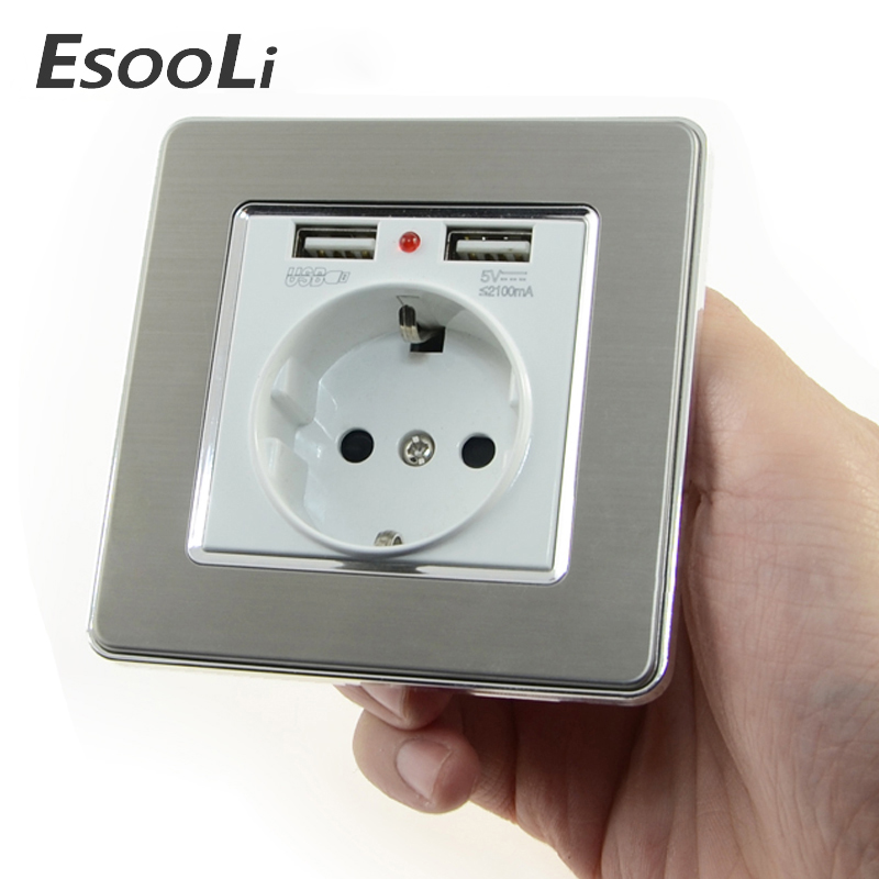 EsooLi Wall Socket Power 16A EU Standard Outlet With 2A Dual USB Charger Port For Mobile Phone Stainless Steel  USB Socket Power