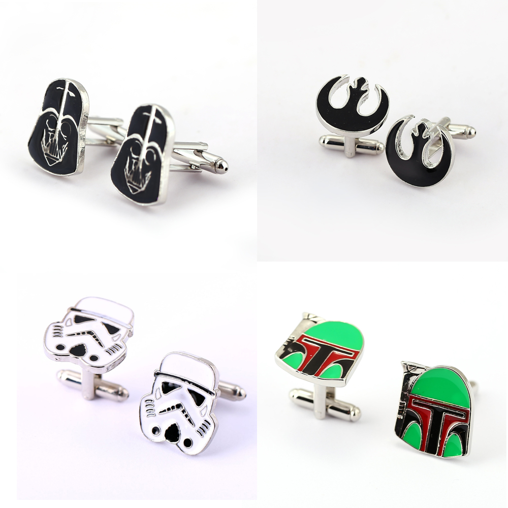 Star Wars Cufflinks for Mens Metal Cuff Buttons Man French Shirt Wedding Stormtrooper Darth Vader Jewelry gift Cuff Links javrick stainless steel silvery vintage jewelry wedding gift men s cuff links cufflinks for wedding best man usher new