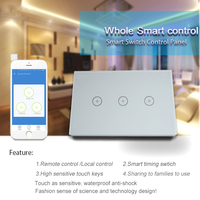 US Version 3gang WIFI Wall Touch Switch Work With Amazon Alexa Smart Remote Control By Phone