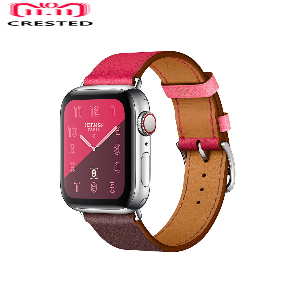 CRESTED Leather strap For Apple Watch band series 4 40mm 44mm iwatch 3/2/1 42mm/38mm single tour Wrist bracelet watchband belt leather single tour strap for apple watch band 4 44mm 40mm bracelet watchband iwatch series 4 3 2 1 38mm 42mm replacement belt