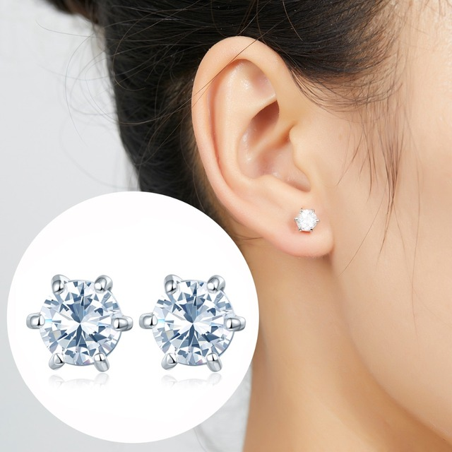 1.0Carats Diamond Stud Earrings 925 Sterling Silver Six Prong Set Simulated Stone Earring for Women Wedding Basic Style Girls