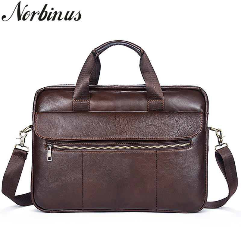Norbinus Men Genuine Leather Messenger Bag Business Briefcases Shoulder Crossbody Bags for Men Male Leather Handbags Laptop Bag ograff men handbags briefcase laptop tote bag genuine leather bag men messenger bags business leather shoulder crossbody bag men