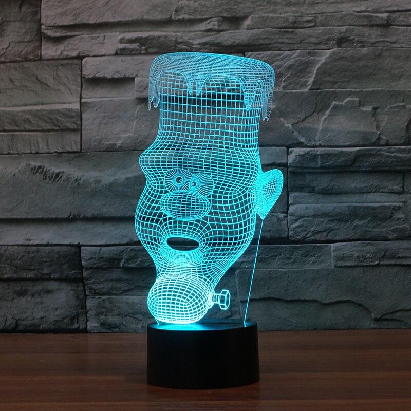 3D table lamp candle man bass Acrylic Entertainment cartoon man illusion LED Lamp USB desk baby night light