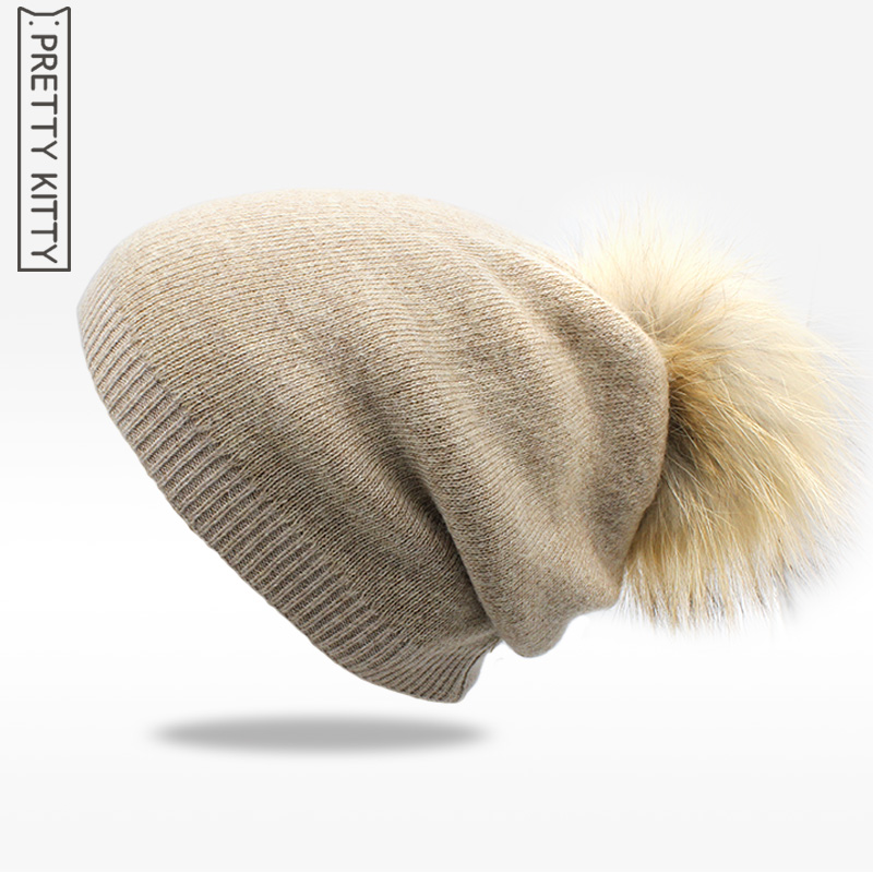real raccoon fur winter beanies hat unisex knitted wool Skullies casual cap with  pompom solid colors ski gorros cap autumn winter skullies beanies hat unisex couple knitted wool casual cap solid colors winter warmer print casual gorros cap
