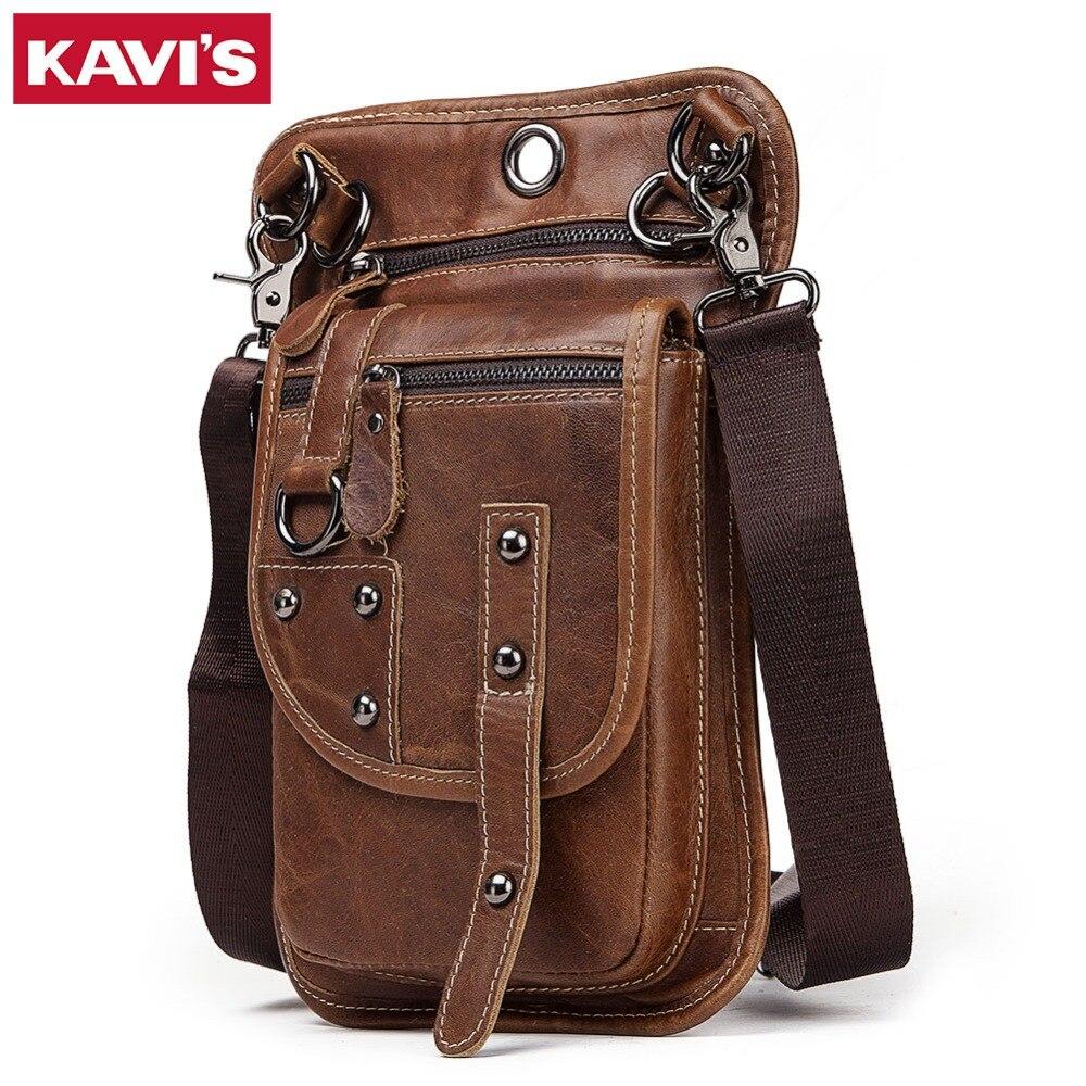 KAVIS Crazy Horse 100 Cow Genuine Leather Messenger Bag Men Shoulder Crossbody Handbag Chest Bag for
