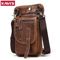 KAVIS Crazy Horse 100% Cow Genuine Leather Messenger Bag Men Shoulder Crossbody Handbag Chest Bag for Male Real Small Slim