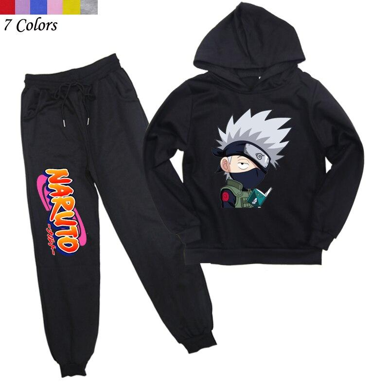 Аниме Наруто комплект детской одежды детский пуловер свитшот худи + длинные штаны костюм весна осень подростковый спортивный костюм для ма...