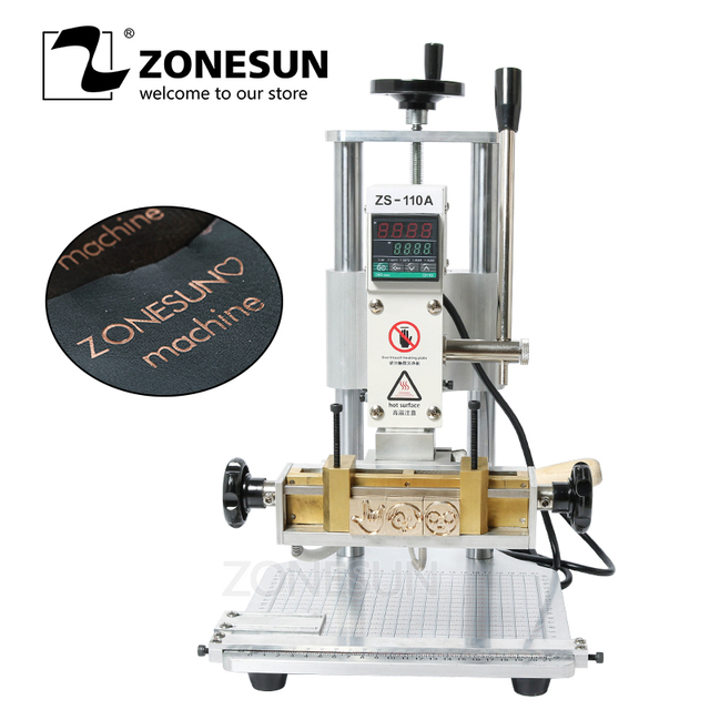 ZONESUN ZS110A Custom Logo Initial Letter Stamping Machine Leather Phone Case Bronzing Press Machine Hot Foil Stamping Embossor