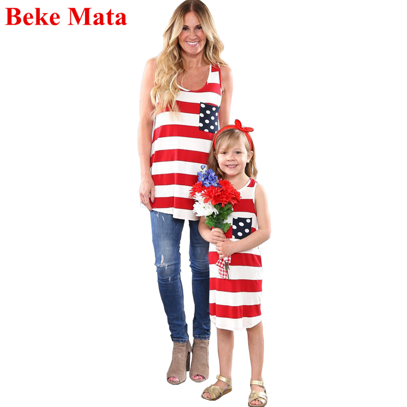 BEKE MATA Mother Daughter Dresses Summer 2018 Sleeveless Matching Mother Daughter Clothe ...