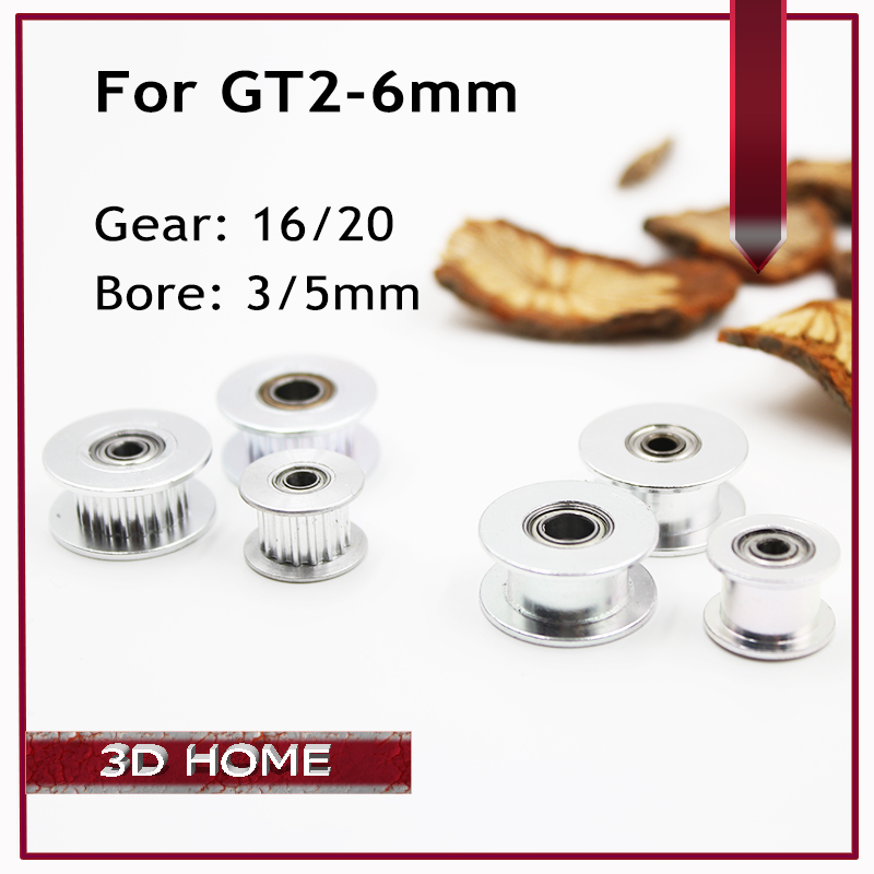 GT2 Pulley 16 / 20 Without Teeth Pulley 16 / 20Teeth OR without Teeth Timing Gear Bore 3MM 5MM For 2GT belt Width 6MM 3D Printer
