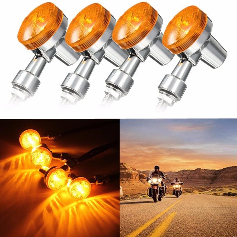 4 Pcs Motorcycle Turn Brake Signal Light Bulb Lamp 12V Amber Indicators Chrome