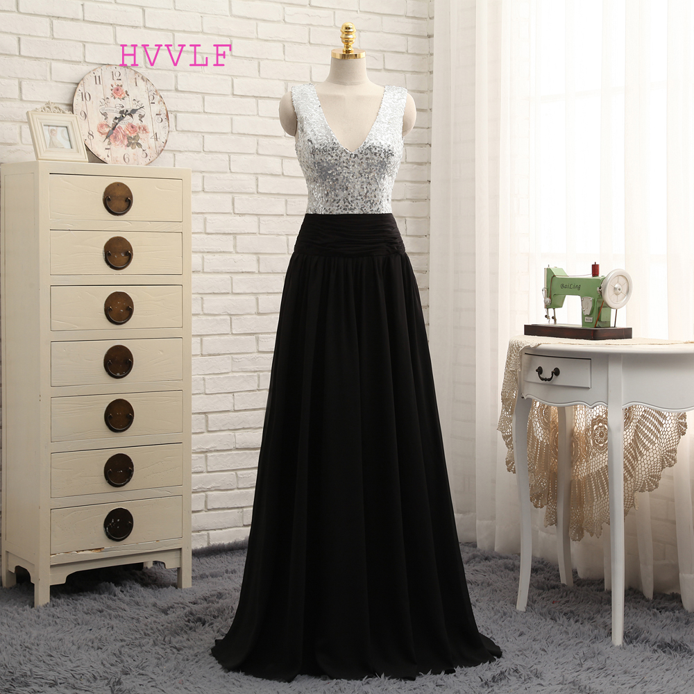 New Black 2019   Prom     Dresses   A-line Deep V-neck Floor Length Chiffon Sequins Long   Prom   Gown Evening   Dresses   Evening Gown