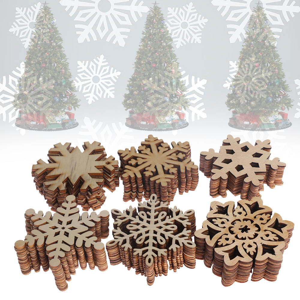 Wood Snowflake Blanks 6 x 20mm Natural Wooden Christmas Ornament