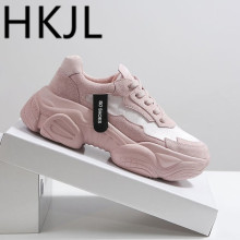 HKJL Fashion women Europe station spring 2019 new silk and satin tide joss-ups thick bottom leisure shoes dad A291