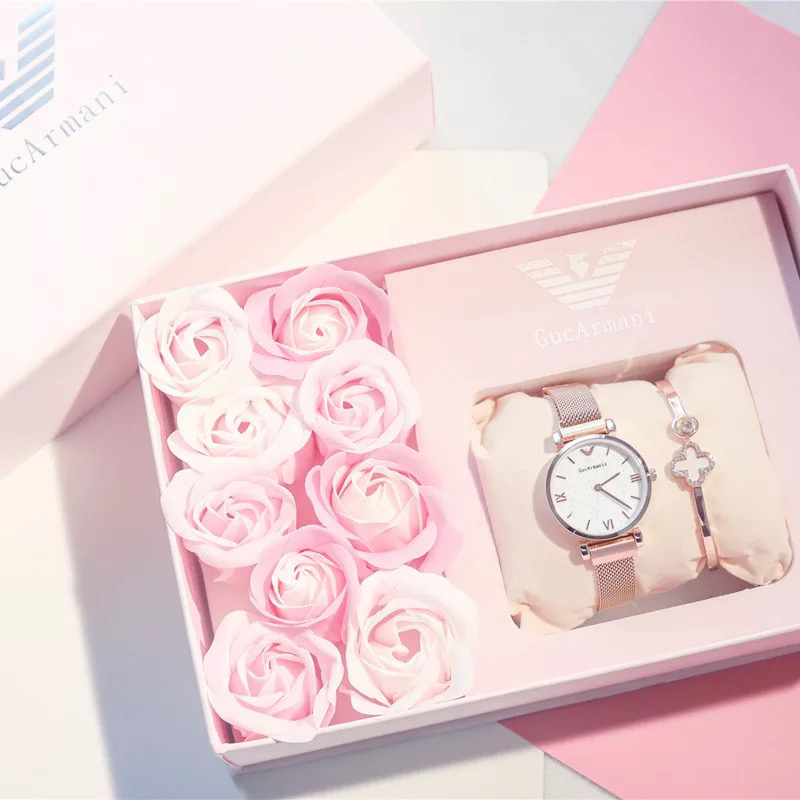Women Watch Bracelet Rose Sets Gift Box Star Dial Quartz Female Watch Pink Romantic Valentine s