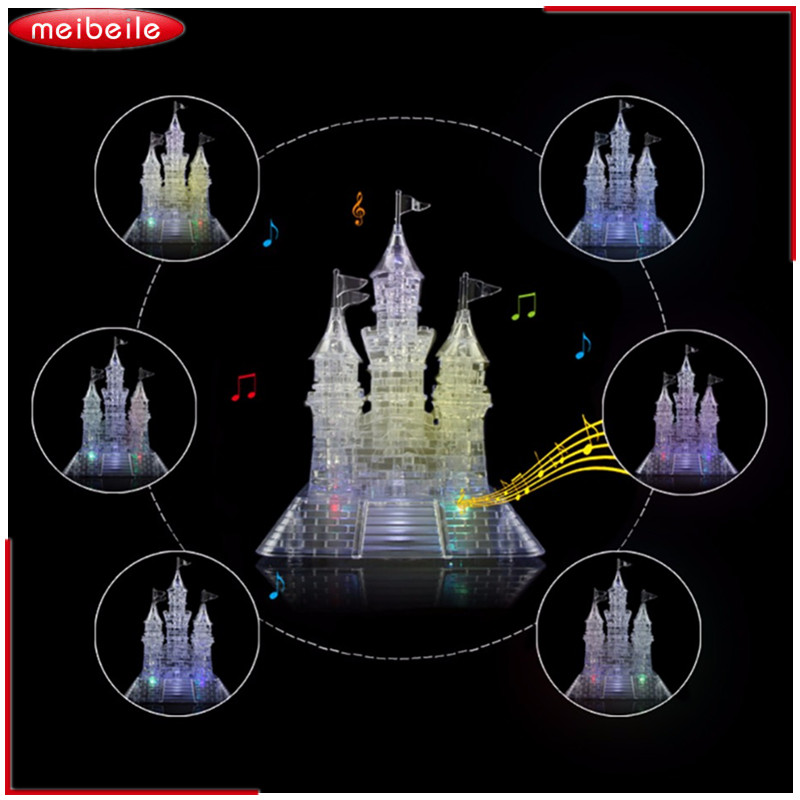 Plastic 3D Crystal Blocks Castle 105 Pieces  Jigsaw Model DIY Mound And Keep Furnishing Blocks Set Educational Toy dimart educational 3d model puzzle jigsaw aircraft carrier diy toy new