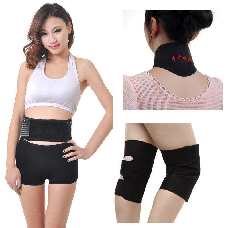 4pcs/set Self-heating Tourmaline Knee Belt Neck Magnetic Therapy Belt For Back Waist Support Brace Massager Tourmaline Products 2015 adjustable knee support bracket fixed fracture knee meniscus ligament knee brace