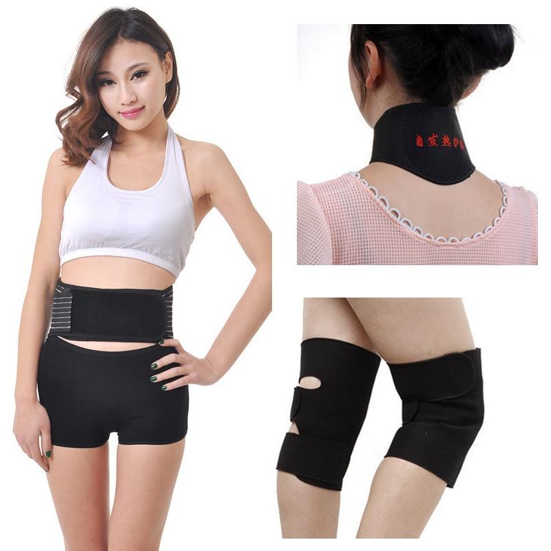 4pcs/set Self-heating Tourmaline Knee Belt Neck Magnetic Therapy Belt For Back Waist Support Brace Massager Tourmaline Products