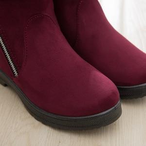 Image 5 - Zip kış kadın kar botları kaymaz kalın sıcak yarım çizmeler kadın moda orta yaşlı anne kış pamuklu ayakkabılar ucuz