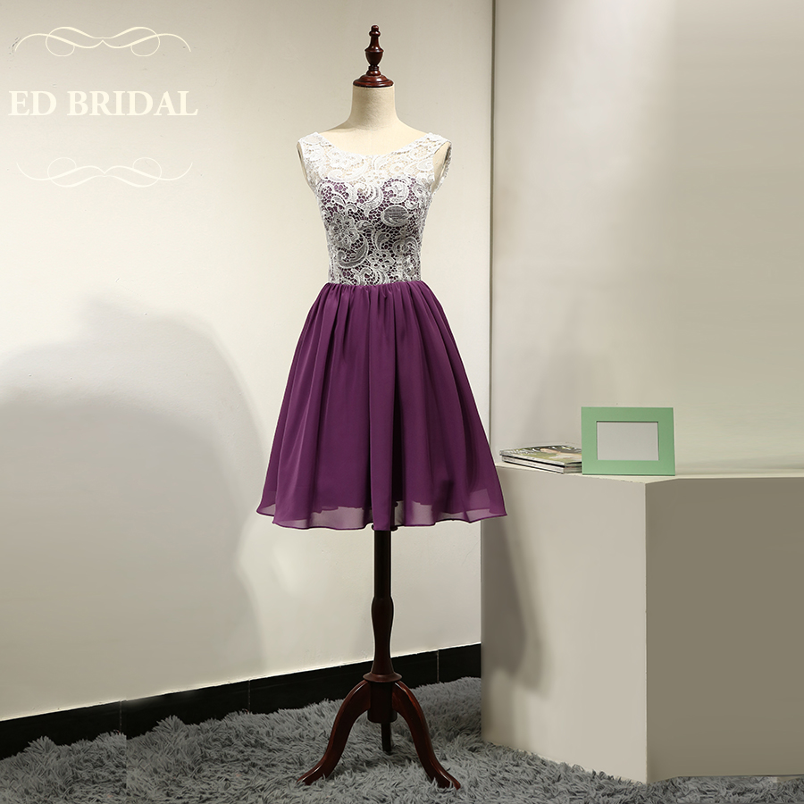 Online get cheap gowns bridesmaid dresses aliexpress custom made venice lace chiffon white purple short bridesmaid dresses party gown maid of honor dress ombrellifo Images