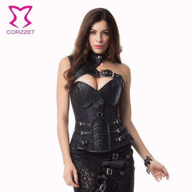 Corzzet grande taille Vintage noir cuir armure acier désossé corset et boléro chaud Shaper corps gothique Steampunk Corsets