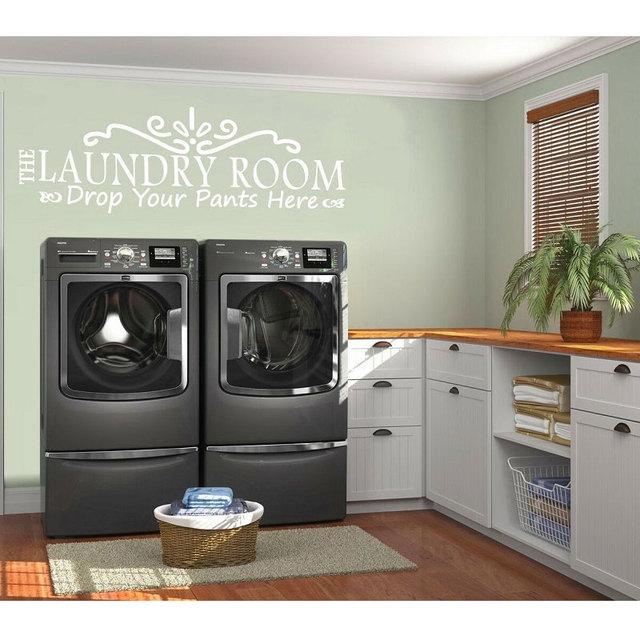 Persönlichkeit beschreibung vinyl wand abziehbilder setzen ihre hosen hier abnehmbare waschküche dekoration tapete XY02