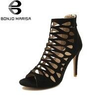 BONJOMARISA 2018 Big Size 32 46 Customize Thin High Heel Sandals Hollow Zip Up Gladiator Sandals