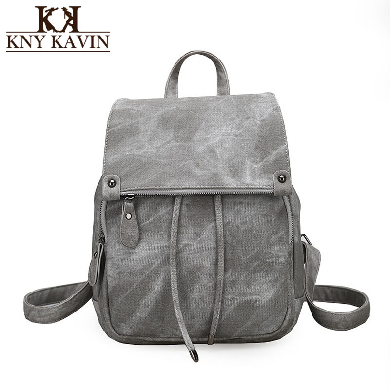 KNY KAVIN Fashion Backpacks School Bag for Teenage Girls Women Leather Rucksack Mochila  ...