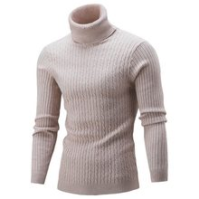 SHUJIN Winter Warm Turtleneck Sweater Men Fashion Solid Knitted Mens Sweaters 2018 Casual Male Double Collar Slim Fit Pullover(China)