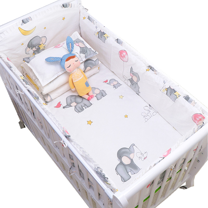 Cartoon Elephant Cotton Soft Baby Bedding Set Baby Crib bumper Include Pillowcase Bumpers Crib Sheet Duvet Cover Baby Bumper Set baby bedding set crib bumper children sleeping bag infant sleepsack includes pillowcase pillow inner duvet cover and filler d3