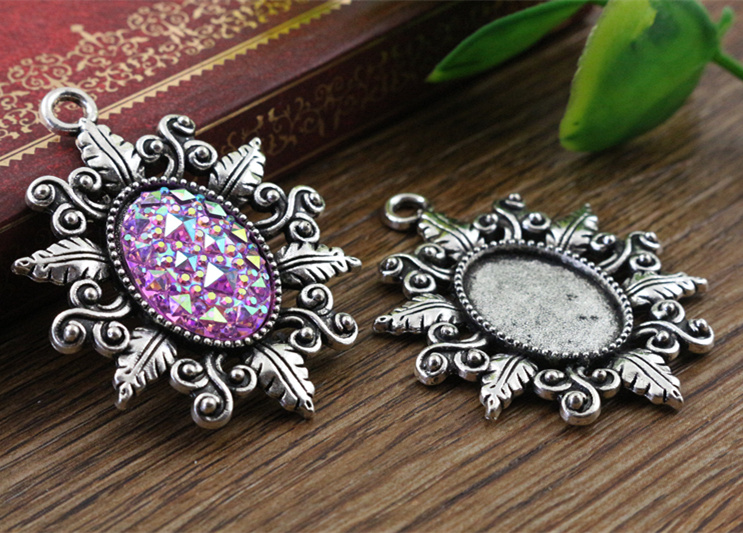 4pcs 13x18mm Inner Size Antique Silver Simple Style Cameo Cabochon Base Setting Charms Pendant necklace findings  (D4-22)4pcs 13x18mm Inner Size Antique Silver Simple Style Cameo Cabochon Base Setting Charms Pendant necklace findings  (D4-22)