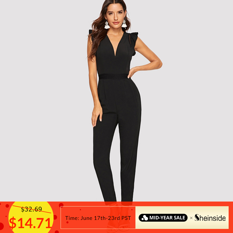 Sheinside Black Deep V Neck Ruffle Detail   Jumpsuit   Women 2019 Summer Mid Waist   Jumpsuits   Office Ladies Solid Tapered   Jumpsuit