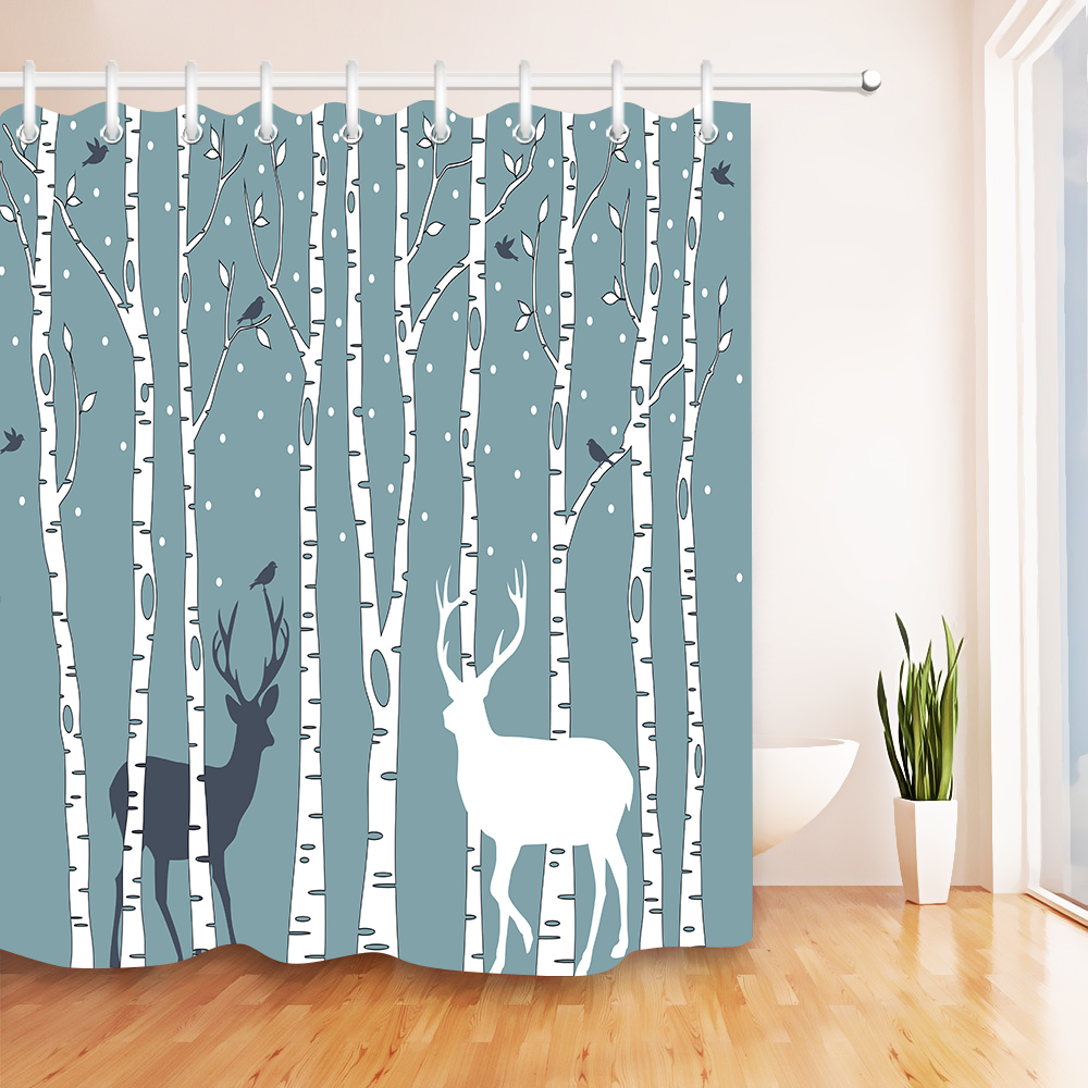 Black /& White Birch Trees Shower Curtain Set Polyester Waterproof Fabric Hooks