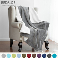 Bedsure Sherpa Blanket Warm Soft Fleece Blankets Throw On Sofa Bed Plane Plaids Double Layer Solid