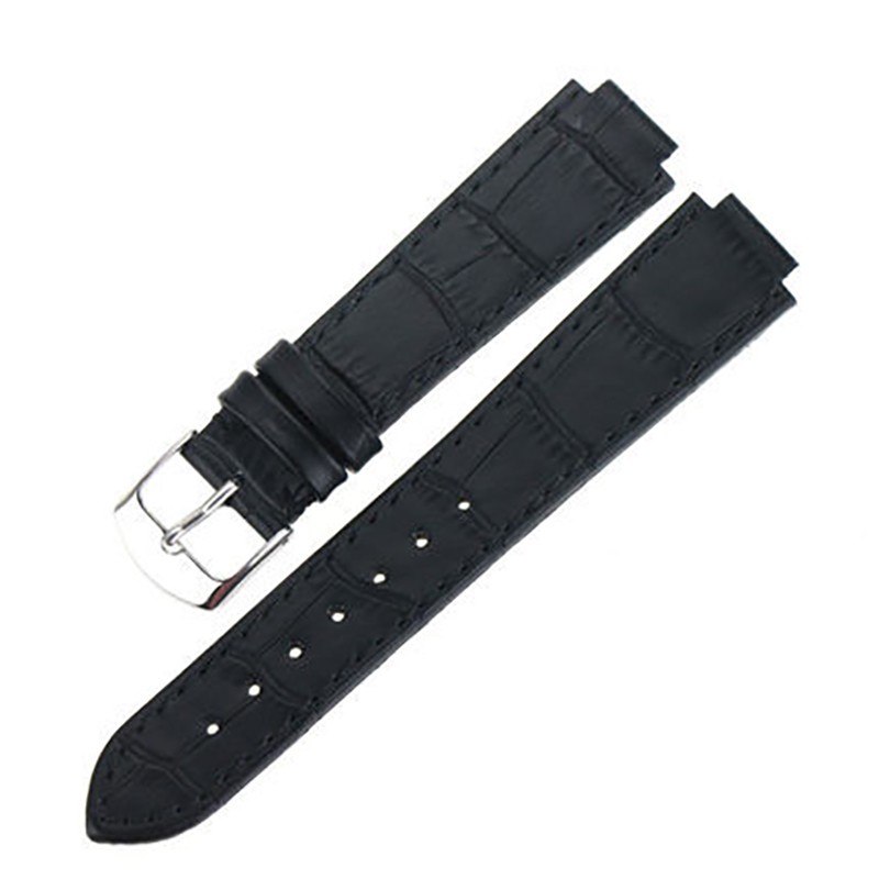 ISUNZUN Men And Women Watch Band For Mido M1130 M2130 Genuine Leather Watch Strap Black Bracelet With Buckle Waterproof Bands