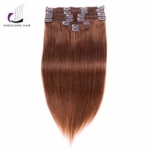 SHENLONG HAIR Remy Straight 100% Human Hair Weaving Malaysian #33 Clip In Hair Extensions 9pcs/set 12 Colors Choose