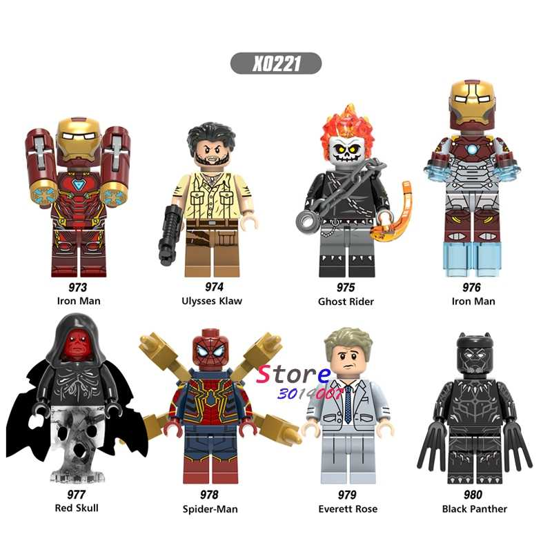 אחת איש ברזל ספיידרמן שחור פנתר יוליסס Klaw Ghost Rider אדום גולגולת אוורט עלה אבני בניין צעצוע לילדים