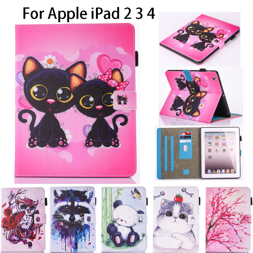 Fashion Cartoon Silicone Leather Flip Cover For Apple ipad 2 3 4 case For iPad 3 iPad 4 Tablet Funda Owl Cat Pattern Stand Shell tablet case for apple ipad mini 1 2 3 flip stand star wars rogue one movie print pu leather tablet cover shell coque para capa