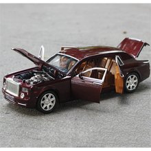 1/24 Car Model Phantom Lengthened coches Diecast Alloy Six-door High-end model Light Models High Simulation Toy Gifts Collection