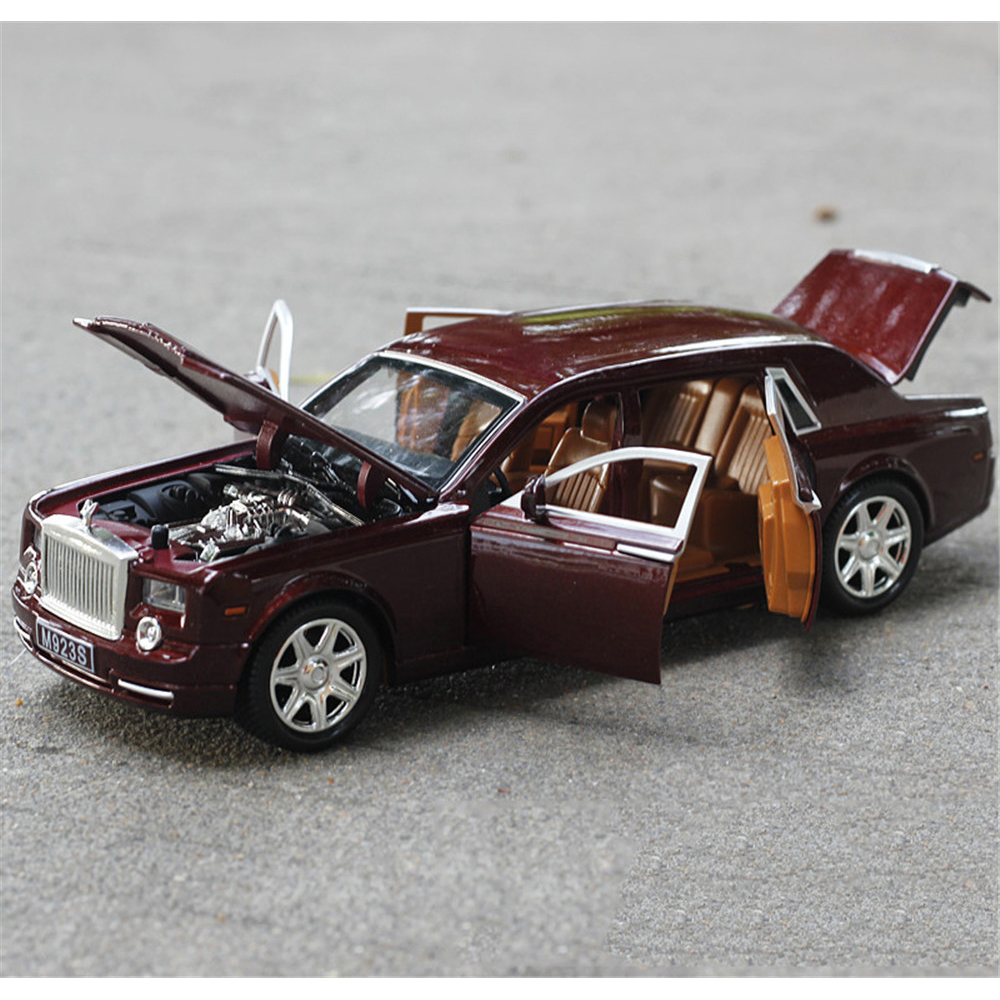 1/24 Car Model Rolls-Royce Phantom Lengthened Cohes Diecast Alloy Sixdoor model Light Models High Simulation Toy Gift Collection gifts 1 32 ros fiatagri g240 tractor models alloy car models favorites model