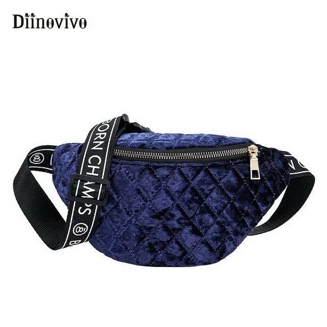 DIINOVIVO 2018 New Women Bag Fashionable Fanny Pack Lingge Velvet Chest Bag Letter Strap Female Handbags Waist Bag Belt WHDV0769