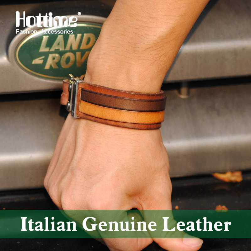 Hot Italian Genuine Leather Cuff Double Wide Bracelet And Rope Bangles Brown For Men Fashion Man Bracelets Unisex Jewelry PG013