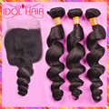 Unprocessed brazilian virgin remy hair loose wave human hair with lace closure natural brazilian idol hair bundle and closure