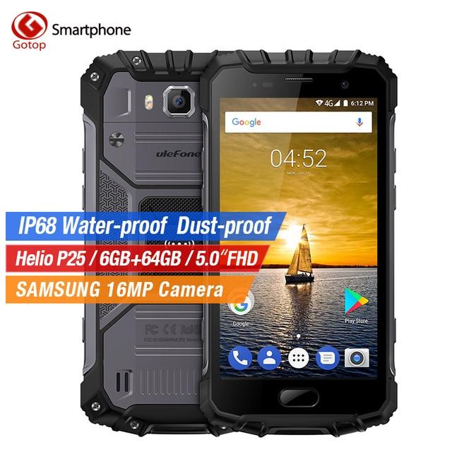 UleFone Armor 2 4G IP68 Waterproof Shockproof Smartphone Helio P25 Octa Core Android 7.0 6GB+64GB 16MP Fingerprint Mobile Phone