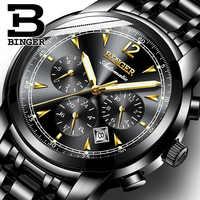 สวิตเซอร์แลนด์นาฬิกากลไกอัตโนมัตินาฬิกาผู้ชาย Binger นาฬิกาแบรนด์เนมหรูชายนาฬิกา Sapphire กันน้ำ reloj hombre 17