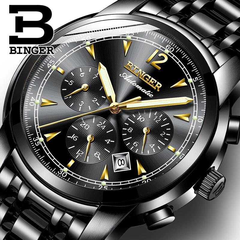 Suisse automatique montre mécanique hommes Binger marque de luxe montres hommes saphir montres étanche reloj hombre 17-in Montres mécaniques from Montres    1