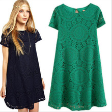 New big yards ladies dress in summer Loose short-sleeved hollow-out kaleidoscope style lace women dress 5 Colors S-4XL
